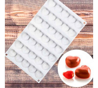 Форма для муссовых десертов и выпечки 29,7×17,3 см «Сердца», 35 ячеек (2,5×2,3 см), цвет белый