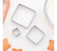 """Набор форм для вырезания печенья 7,5х1,5 см """"Квадрат"""", 3 шт"""