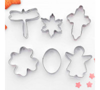 """Набор форм для вырезания печенья 7x13 см """"Клевер, стрекоза, крестик, овал"""", 6 шт"""