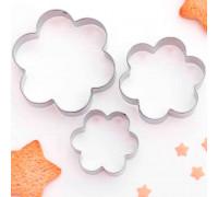 """Набор форм для вырезания печенья """"Цветок"""", 3 шт"""