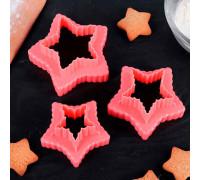 """Набор форм для вырезания печенья 10х9х4,5 см """"Звезда"""", 3 шт, цвет МИКС"""