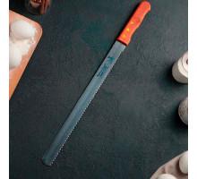 Нож для бисквита крупные зубцы, ручка дерево, рабочая поверхность 35 см