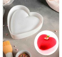"""Форма для муссовых десертов и выпечки 13×10 см """"Сердце"""", цвет белый"""