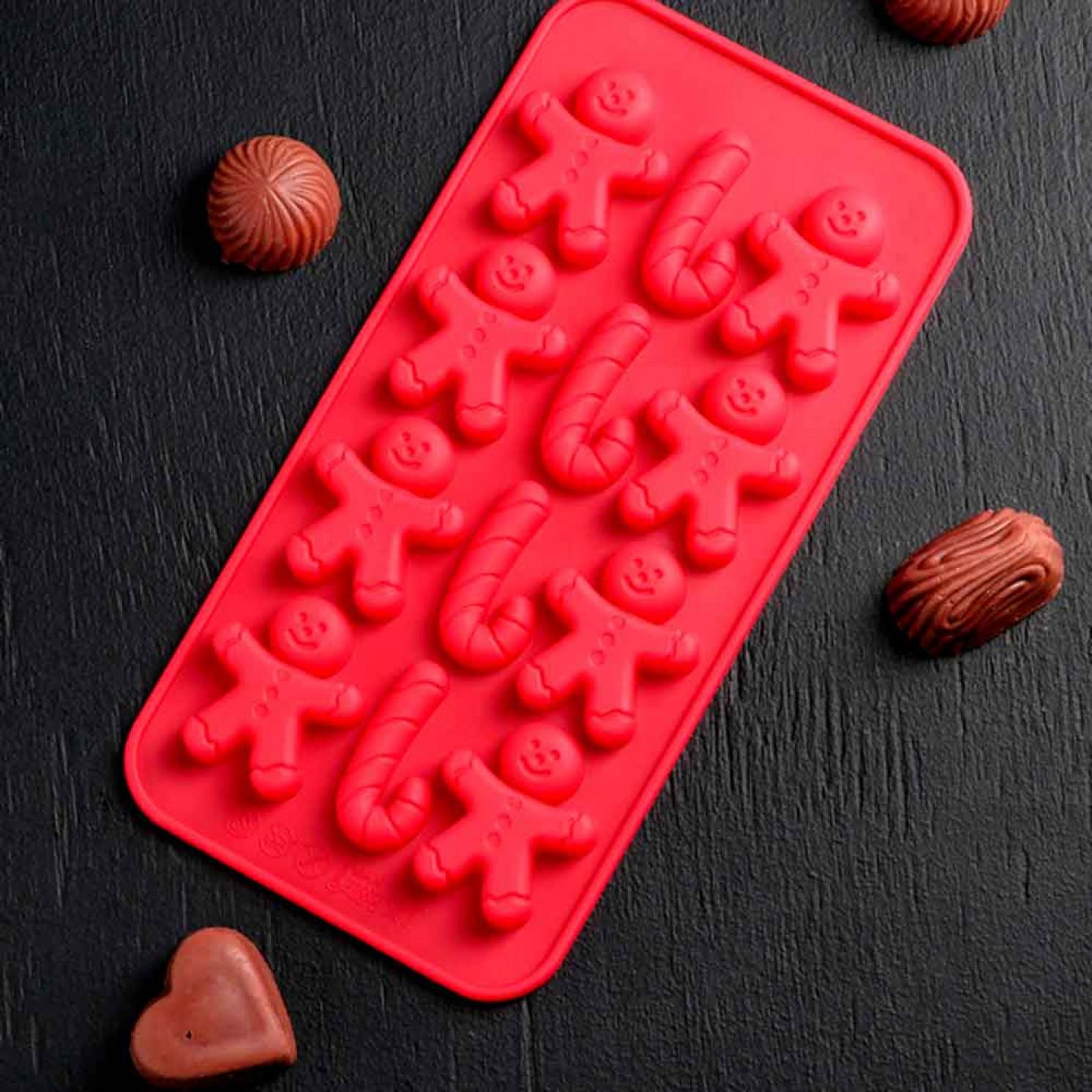 Форма для льда и шоколада 21×10 см «Карамельное чудо», 12 ячеек (3,5×3,5 см), цвет МИКС
