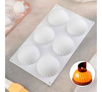 Форма для муссовых десертов и выпечки 30×17,5 см «Купол», 6 ячеек (d=7,5 см), цвет белый
