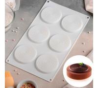 """Форма для муссовых десертов и выпечки 30×17,5 см """"Гипноз"""", 6 ячеек, цвет белый"""