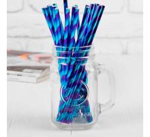 """Трубочка для коктейля """"Сияние"""" набор 25 шт, цвет фиолетовый-голубой"""