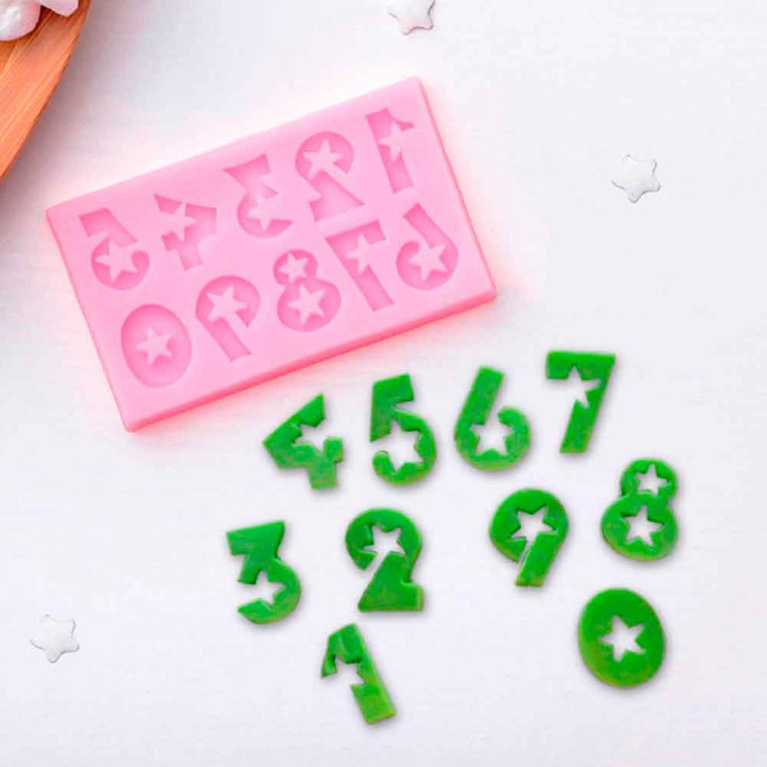 """Молд силиконовый 7,5×4,5 см """"Цифры со звёздами"""""""