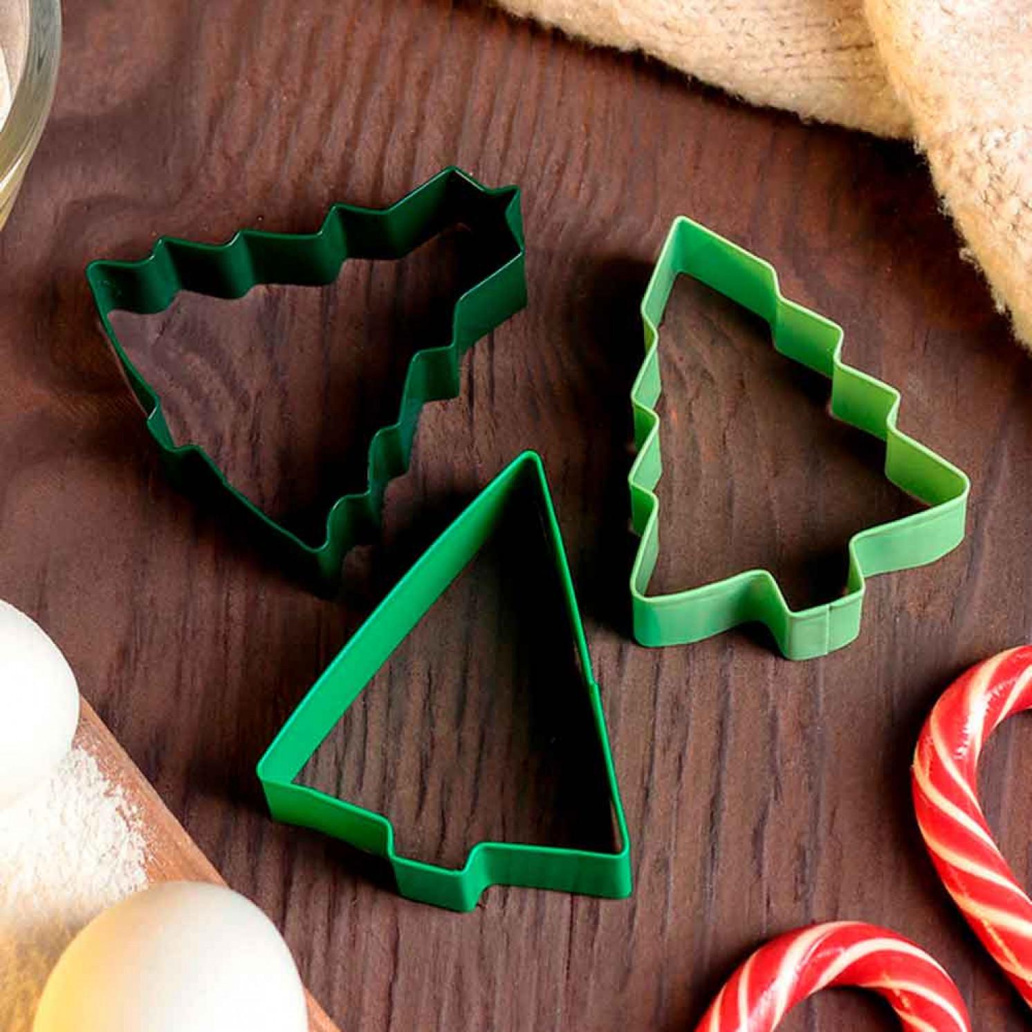 """Набор форм для печенья """"Ёлка"""", 3 шт, цвет зелёный"""