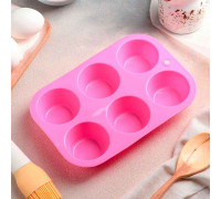 Форма для выпечки 21,5×14,5 см «Круг», 6 ячеек (5,7×5,7×3 см), цвет МИКС