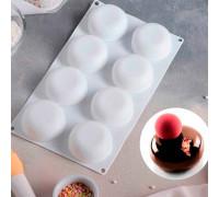 Форма для муссовых десертов и выпечки 30×18 см «Пуэнти», 8 ячеек (6,6×6,6×3 см), цвет белый