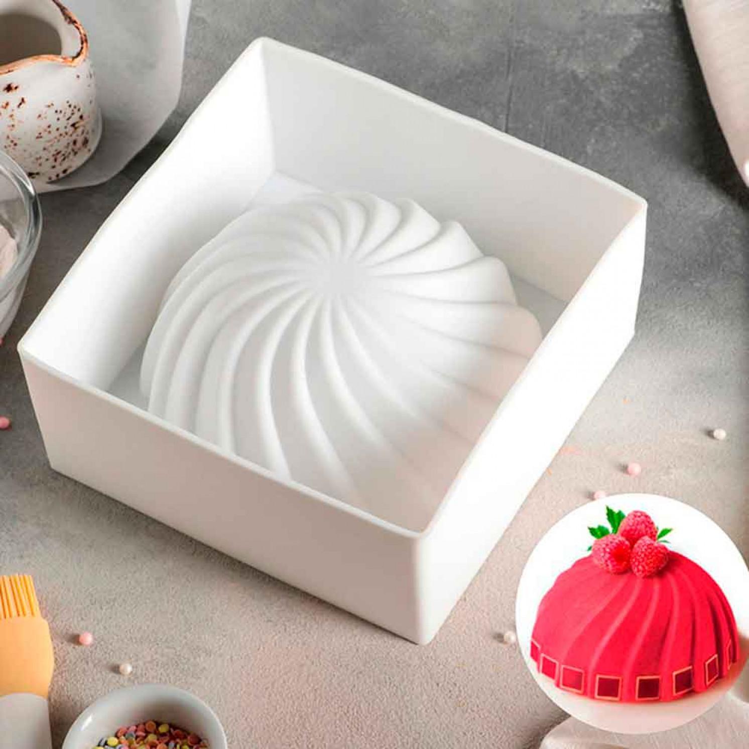Форма для муссовых десертов и выпечки 19,2×9,5 см «Взбитые сливки», внутренний размер 18×18 см, цвет белый