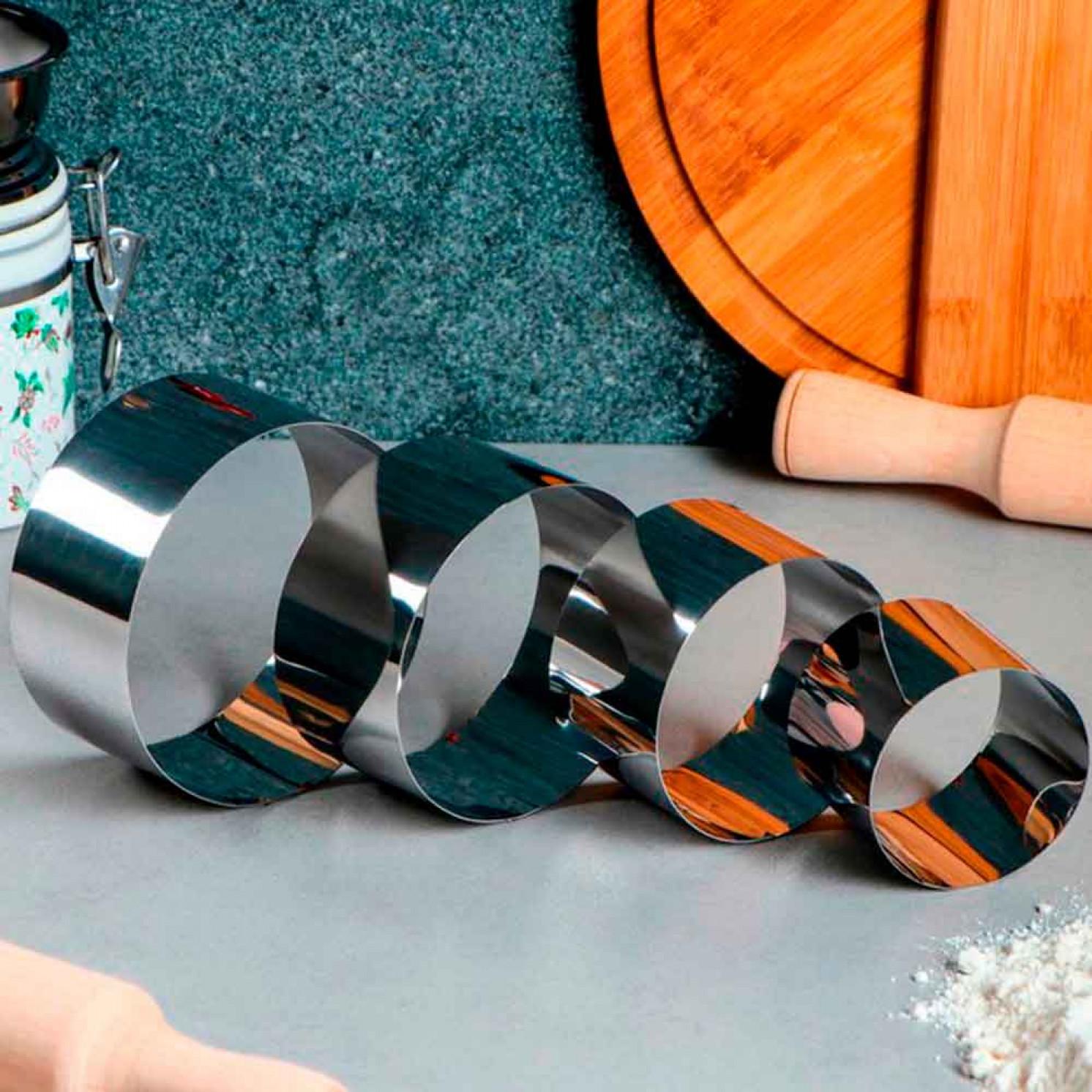 """Набор форм для выпечки и выкладки """"Круг"""", D-10, H-5 см, 4 шт"""