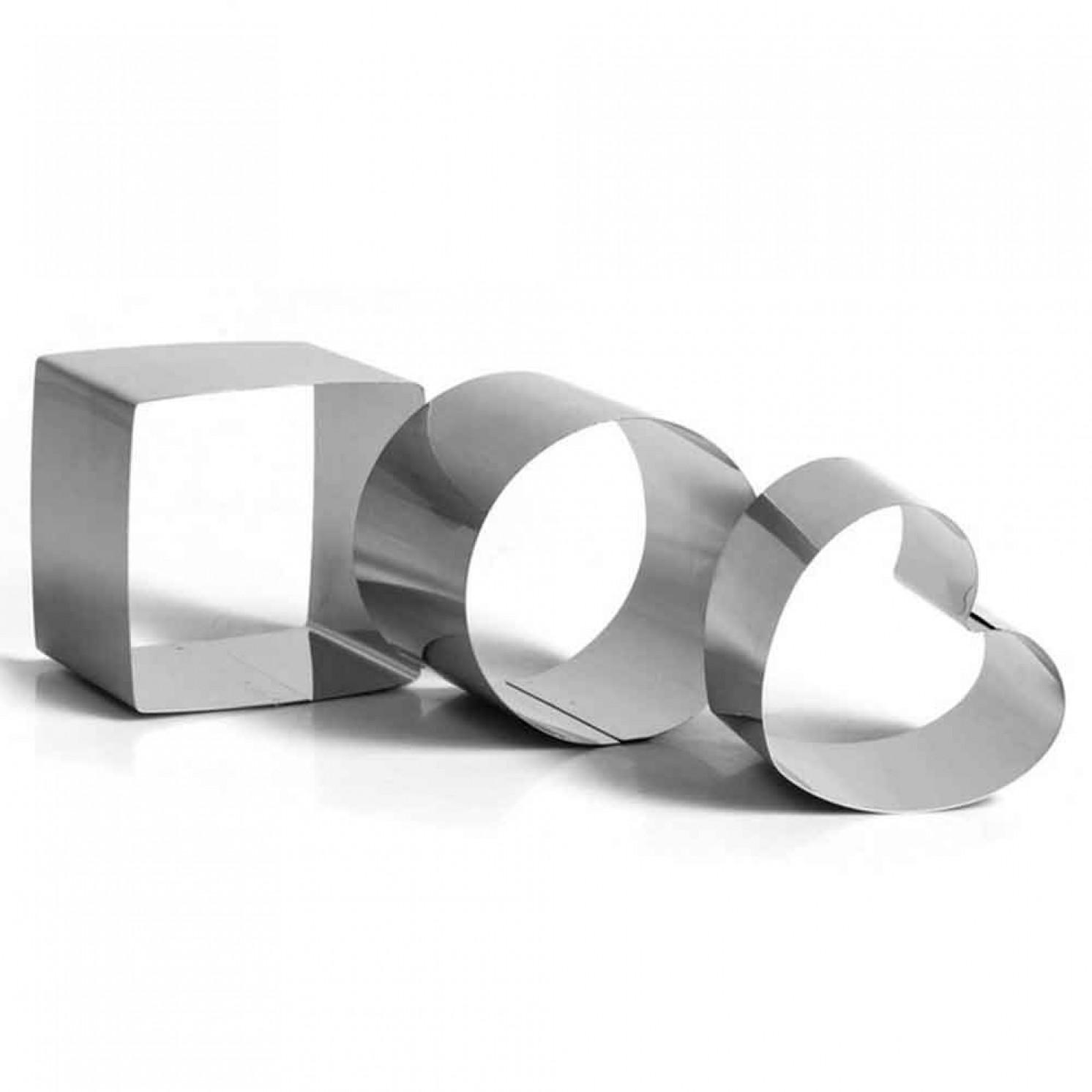 "Набор форм для выпечки и выкладки ""Круг, квадрат, сердце"", 10 х 10 х 8 см, 3 шт."