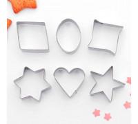 """Набор форм для вырезания печенья 7х13 см """"Сердце, круг, звезда, квадрат"""", 6 шт"""