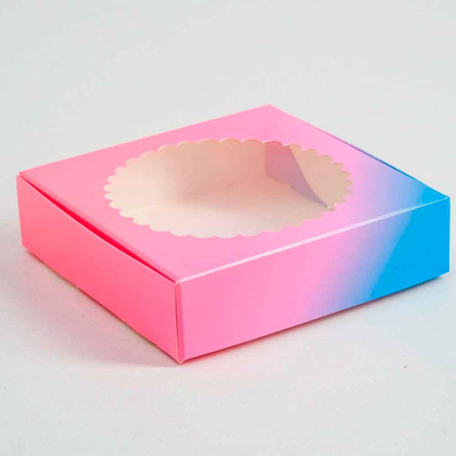 Подарочная коробка сборная с окном, розово-голубая, 11,5 х 11,5 х 3 см