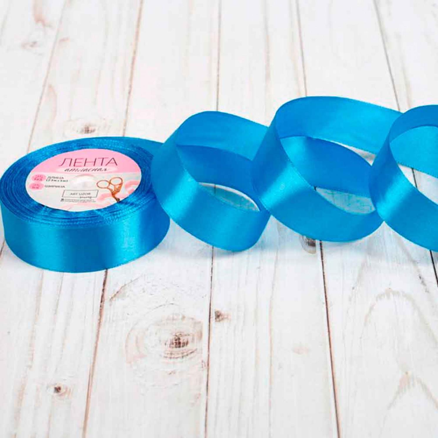 Лента атласная, 25 мм × 23 ± 1 м, цвет синий №36