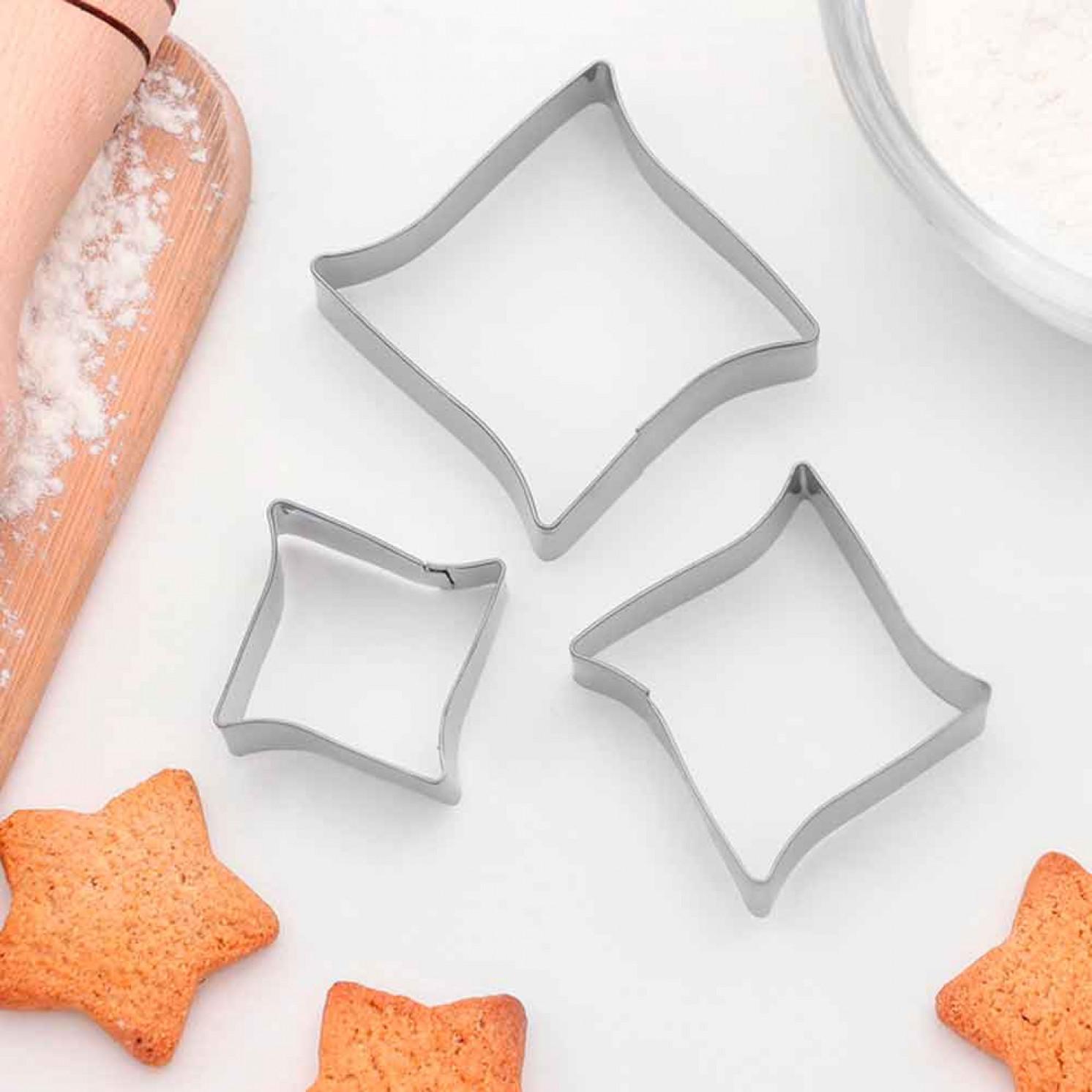 """Набор форм для вырезания печенья 6,5x6 см """"Изгиб"""", 3 шт"""