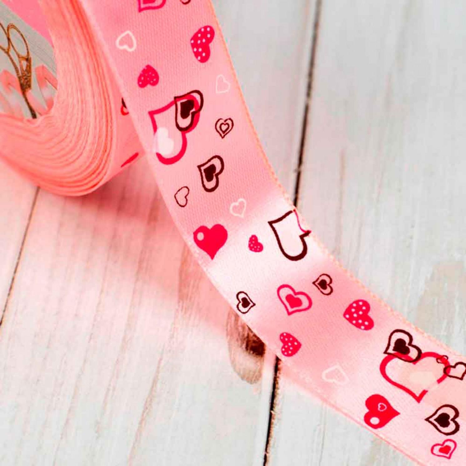 Лента атласная «Сердца», 25 мм × 23 ± 1 м, цвет светло-розовый №004