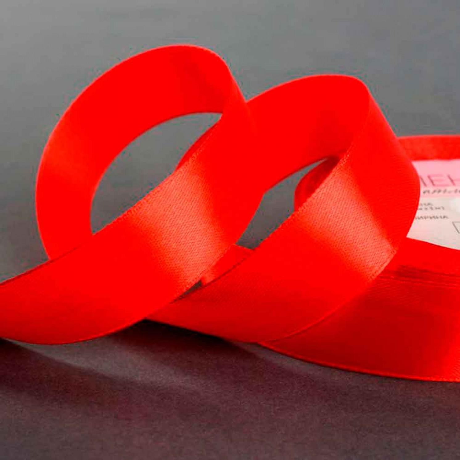 Лента атласная, 25 мм × 22 ± 1 м, цвет красный №26