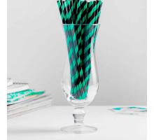 """Трубочки для коктейля """"Спираль"""" набор 25 шт, цвет чёрный-зелёный"""
