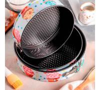 Набор форм для выпечки разъёмных «Десерт круг», 3 шт: 24/26/28х7 см, антипригарное покрытие