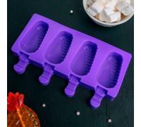 """Форма для леденцов и мороженого """"Эскимо в глазури"""", 4 ячейки, цвет МИКС"""
