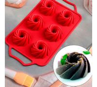 """Форма для выпечки 32,5×18 см """"Престиж"""", 6 ячеек, цвет красный"""