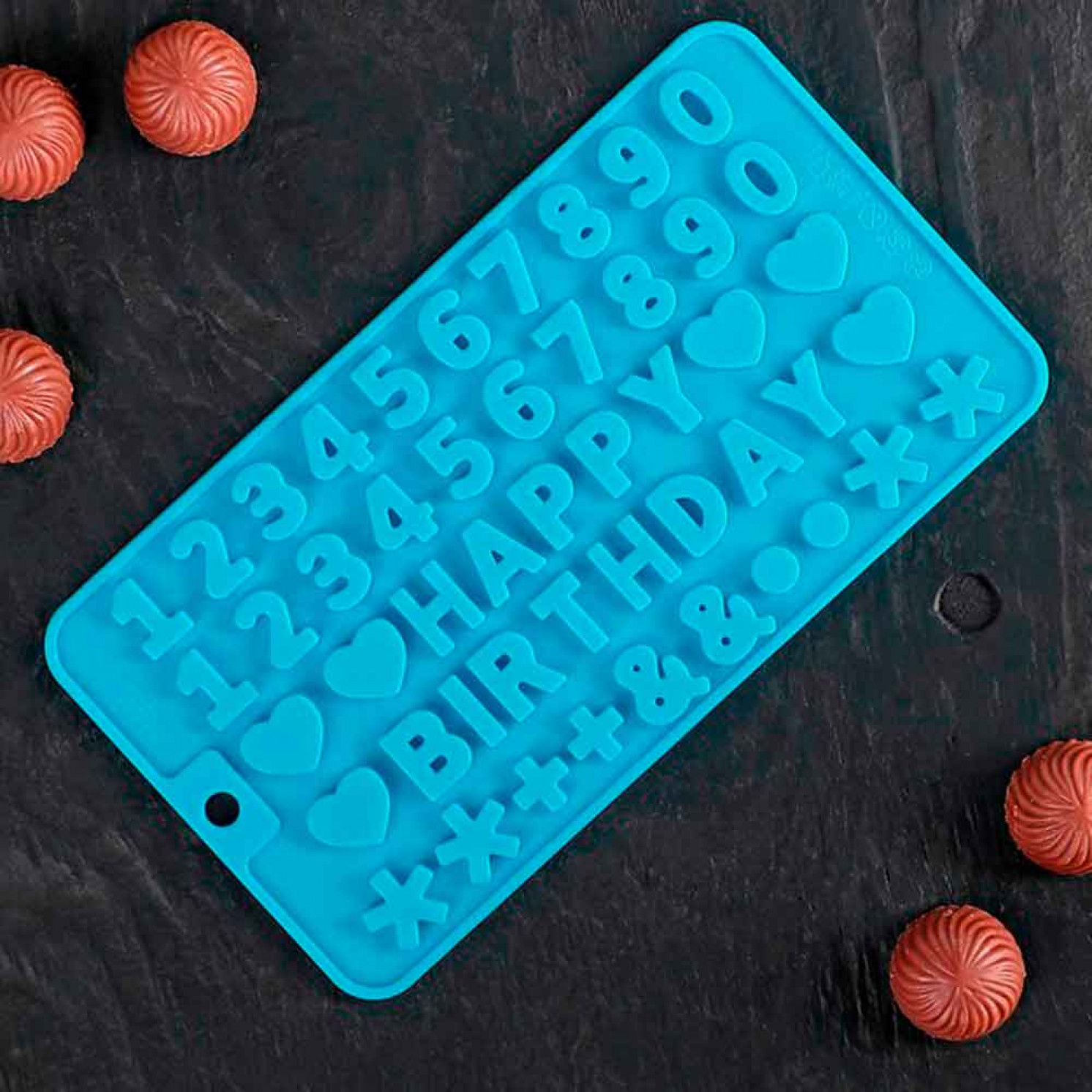 """Форма для льда и шоколада 21,5х11,5 см """"С Днем рождения"""", 49 ячеек, цвет МИКС"""