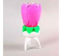 """Свеча для торта музыкальная """"Тюльпан"""", крутящаяся, розовая, 14,5×6 см"""