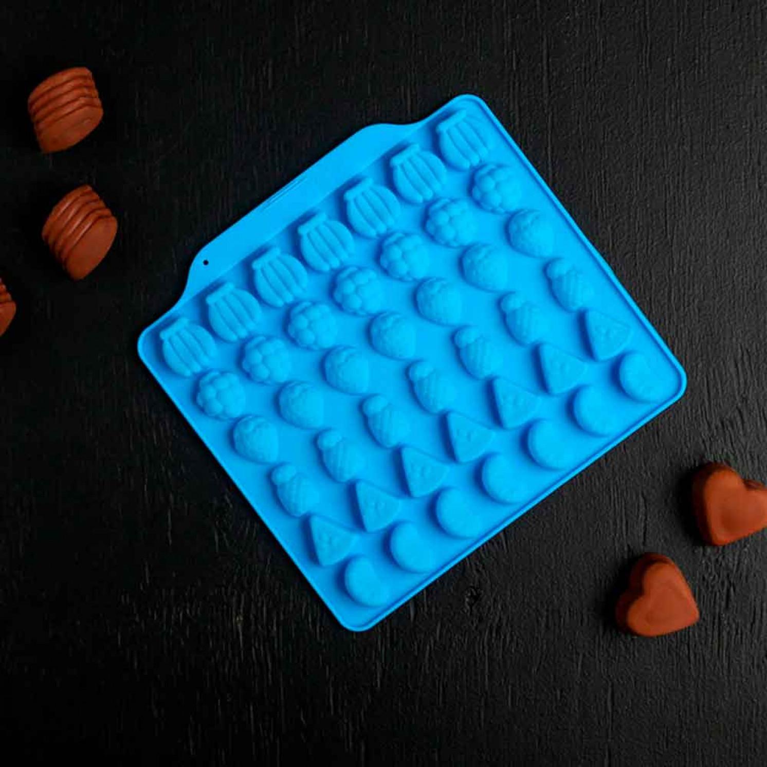 Форма для льда и шоколада «Фруктовый бум», 42 ячейки, 18×16×1 см, цвет МИКС