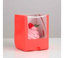 Упаковка под один капкейк с окном, алый, 12,5 х 9,5 х 9,5 см