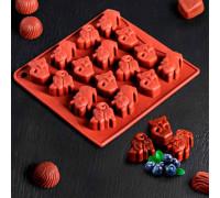 Форма для льда и шоколада «Кошки», 18х17х2 см, 16 ячеек, цвет шоколадный