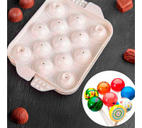 Форма для льда и шоколада 16×12 см «Сфера», 13 ячеек, цвет белый