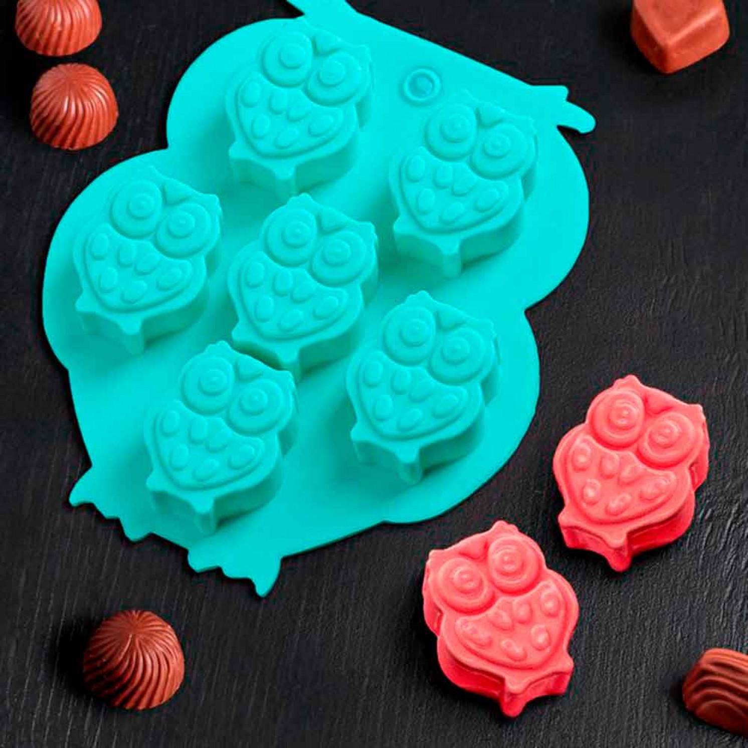 Форма для льда и шоколада «Совы», 6 ячеек (3,3×2,7×1,5 см), 12,5×11 см, цвет МИКС
