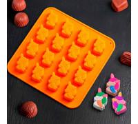 Форма для льда и шоколада «Единорог», 16 ячеек, 18×18×1 см, цвета МИКС