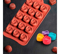 """Форма для льда и шоколада 21,5х11,5 см """"Завиток"""", 15 ячеек"""