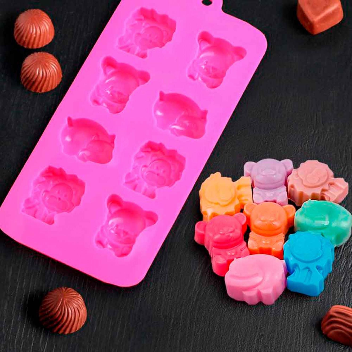 Форма для льда и шоколада «Зоопарк», 8 ячеек, 22×12×3 см, цвет МИКС