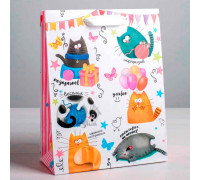 Пакет ламинированный вертикальный «Забавные коты», ML 23 × 27 × 8 см