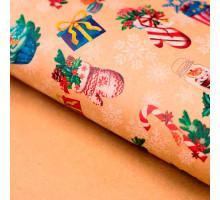 Бумага упаковочная крафтовая «Вкусный праздник», 50 × 70 см