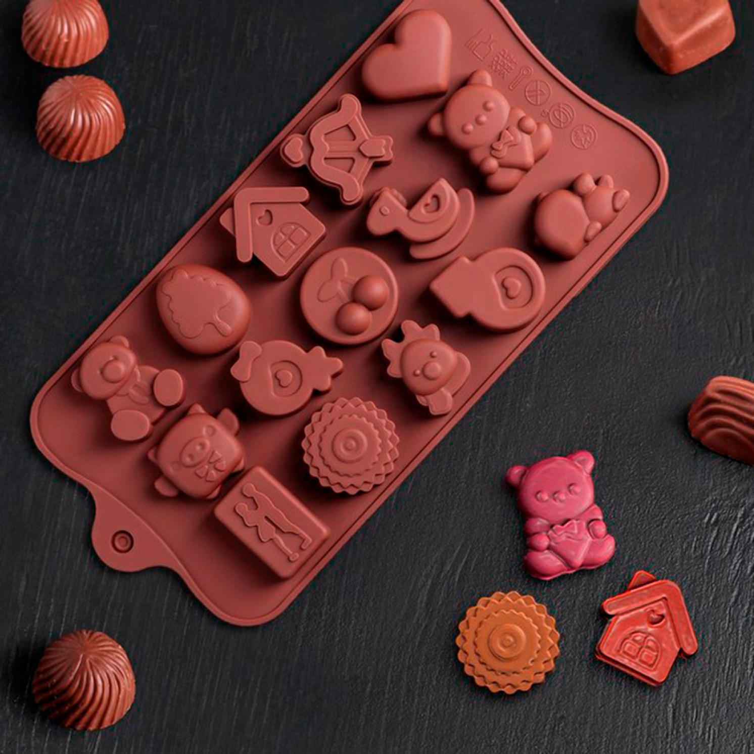 Форма для льда и шоколада «Счастье есть», 21×11×1,5 см, 15 ячеек