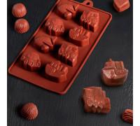 Форма для льда и шоколада «Машинки», 21×11 см, 8 ячеек (4,3×3,5 см), цвет шоколадный