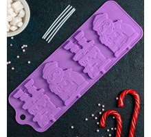 Форма для леденцов и мороженого «Дед Мороз», 36×12 см, 4 ячейки, цвет МИКС