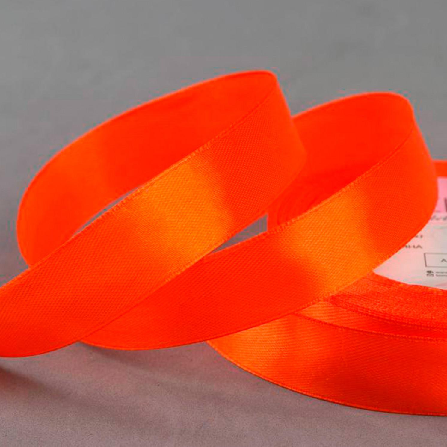 Лента атласная, 20 мм × 23 ± 1 м, цвет мандариновый №23