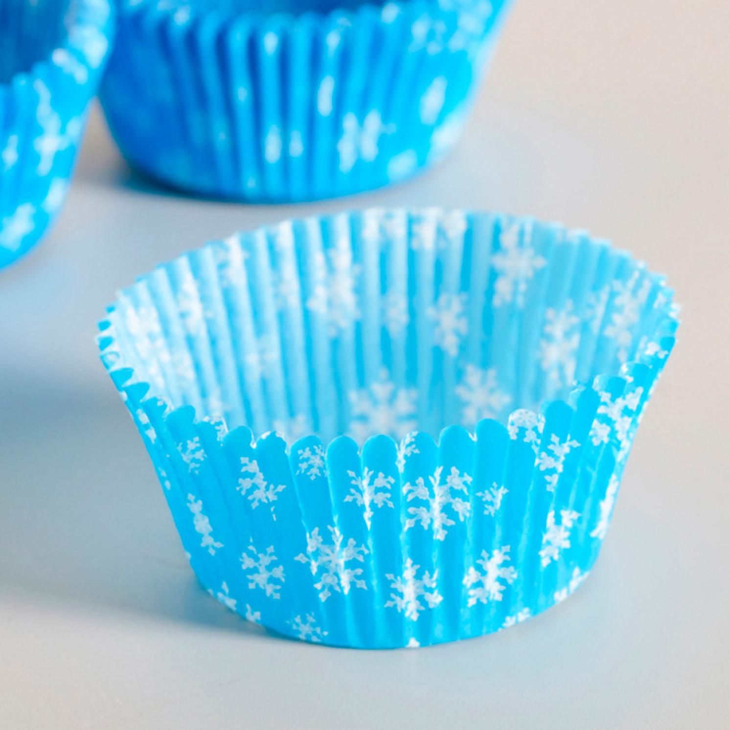 Тарталетка, голубая со снежинками, 5 х 3 см, 90 шт