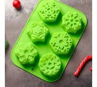 Форма для выпечки «Новый год. Снежинка», 26,5×18,5 см, 6 ячеек, цвет МИКС