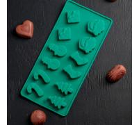 Форма для льда и шоколада «Новый год», 21,5×10 см, 12 ячеек, цвет МИКС
