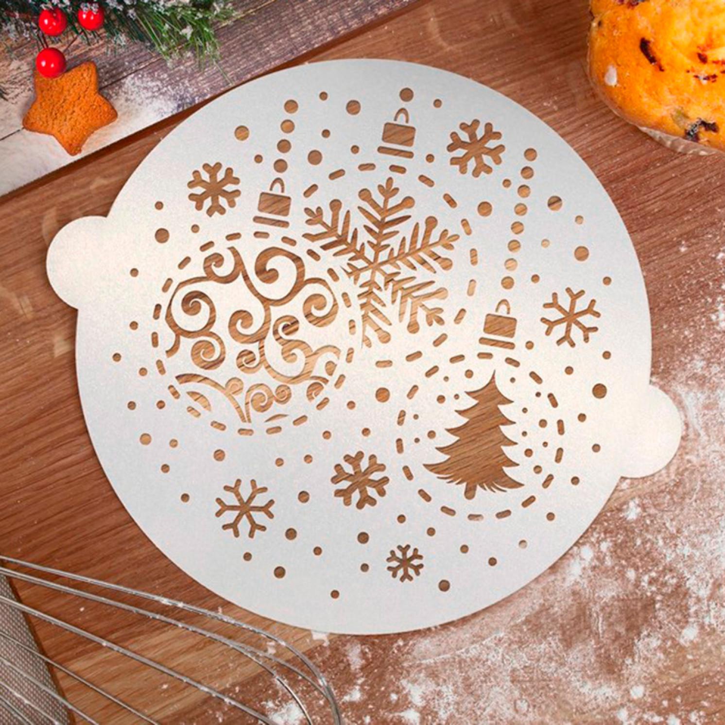 Трафарет для выпечки «Новогодние шары», 19.5 × 17 см