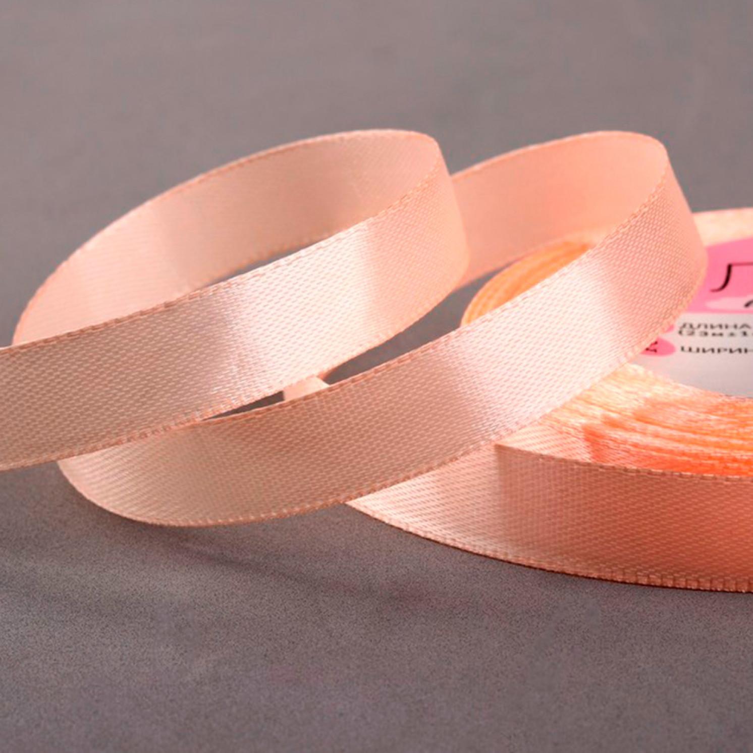 Лента атласная, 12 мм × 23 ± 1 м, цвет персиковый №06