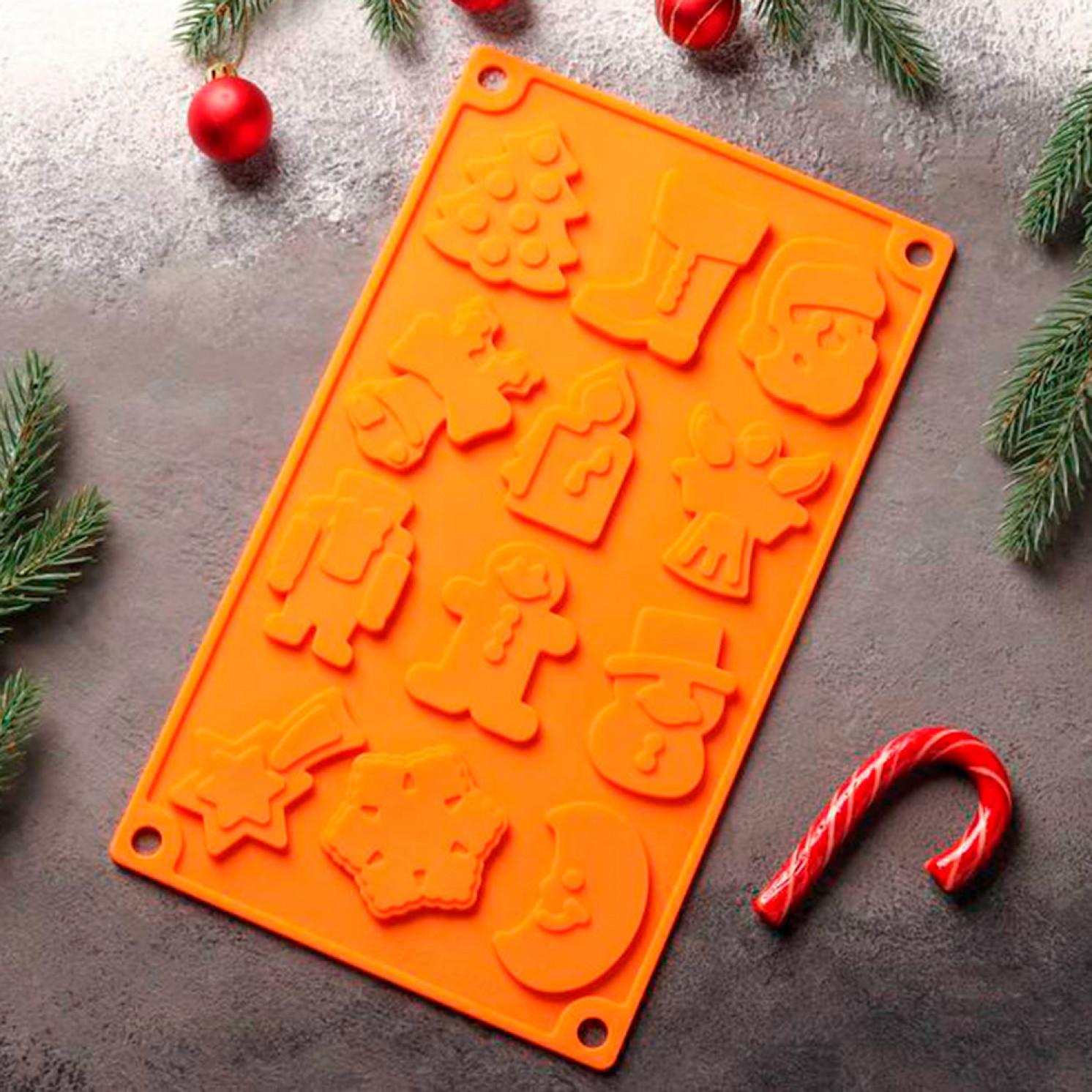 Форма для льда и шоколада «Новый год», 29,3×17,3 см, 12 ячеек, цвет МИКС